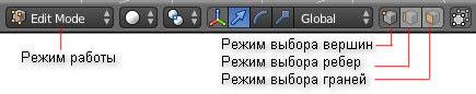 Blender. Выбор режима редактирования