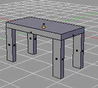 Blender. Модель стола,  созданная с применением инструмента Subdivide.