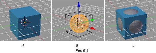 Blender. Операции пересечения,  объединения и разности для куба и сферы