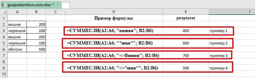 Функция СУММЕСЛИ excel с примерами